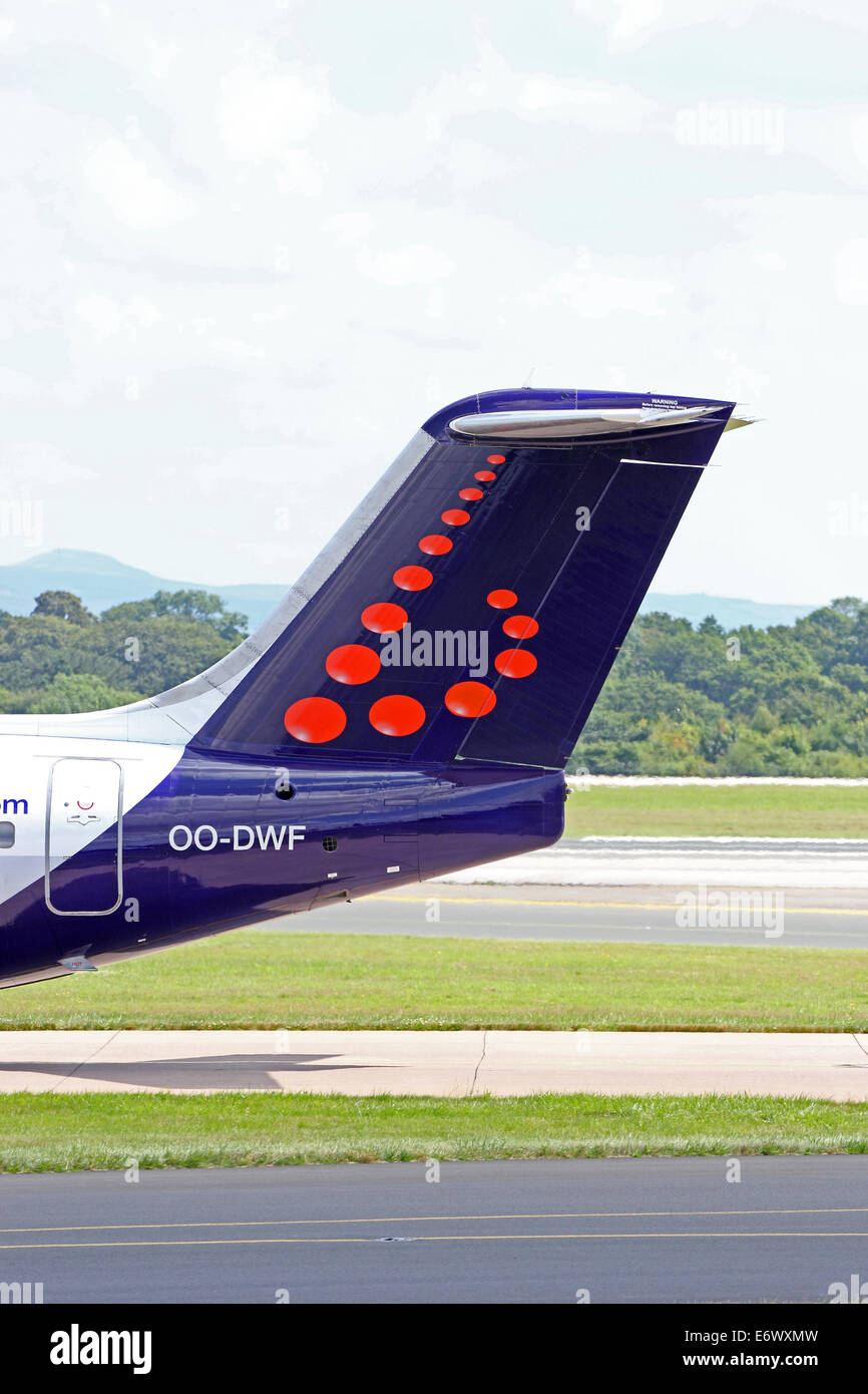 Tailplane of Brussels Airlines Avro RJ100 - Stock Image