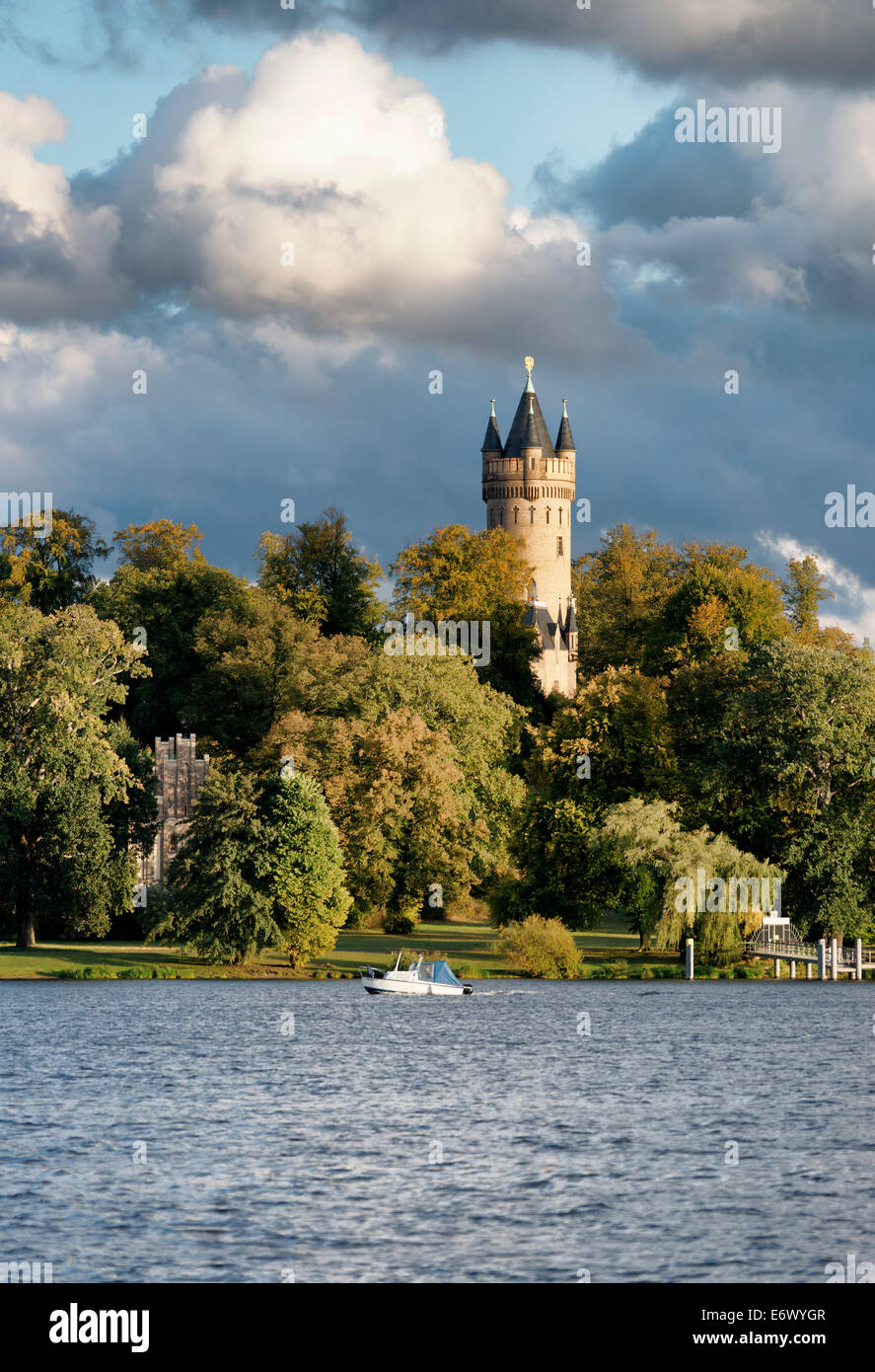 Tiefen See Lake on the Havel, Sailors' House and Flatow Tower in Park Babelsberg, Potsdam, Land Brandenburg, Germany Stock Photo