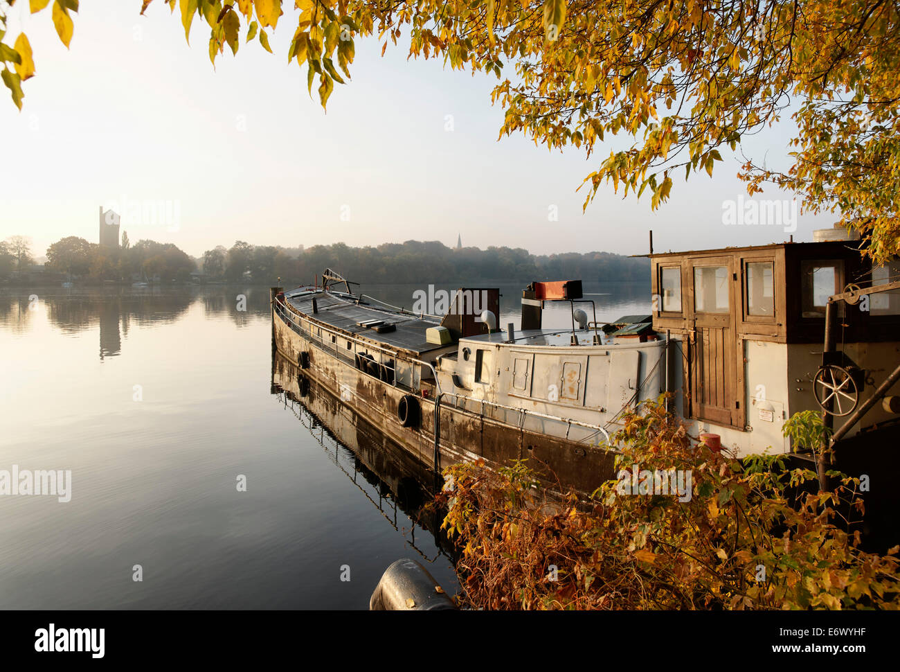 Old Cargo Ship, Templin Lake, Havel, Water Tower on Hermannswerder island, Potsdam, Land Brandenburg, Germany - Stock Image