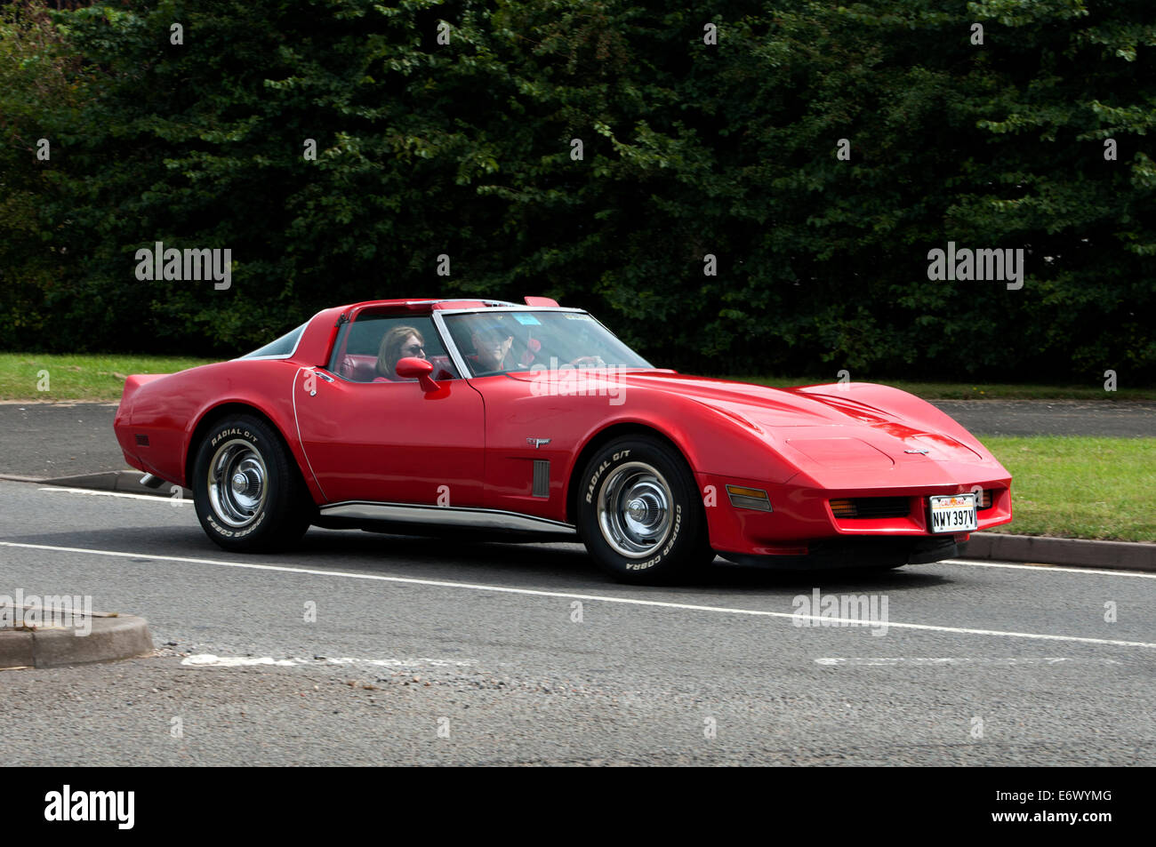 1979 chevrolet corvette stingray car on the fosse way road stock