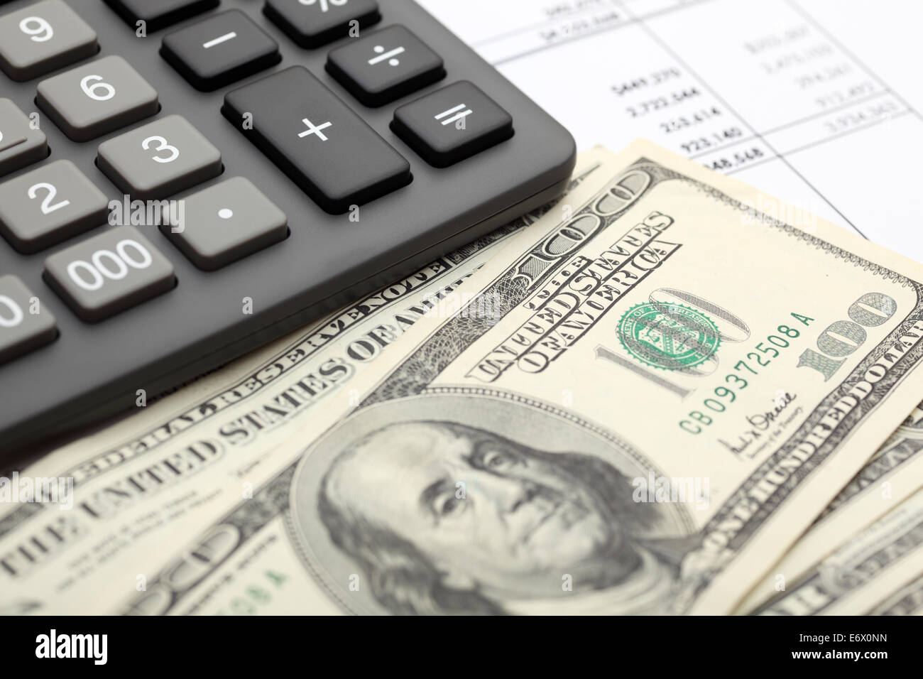 Financial statements. Calculator, dollars on financial statements. SDOF. Closeup. - Stock Image