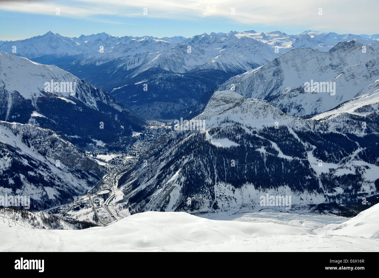 Under Mont Blanc with view towards Courmayeur, Aosta Valley, Italy Stock Photo