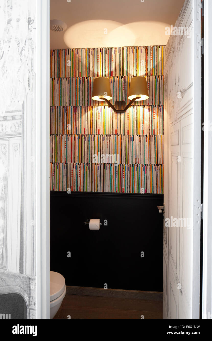 WC of Couture room Gilded Lounge Suite in Hotel La Maison Champs-Elysees, designed by Martin Margiela, Paris, France - Stock Image