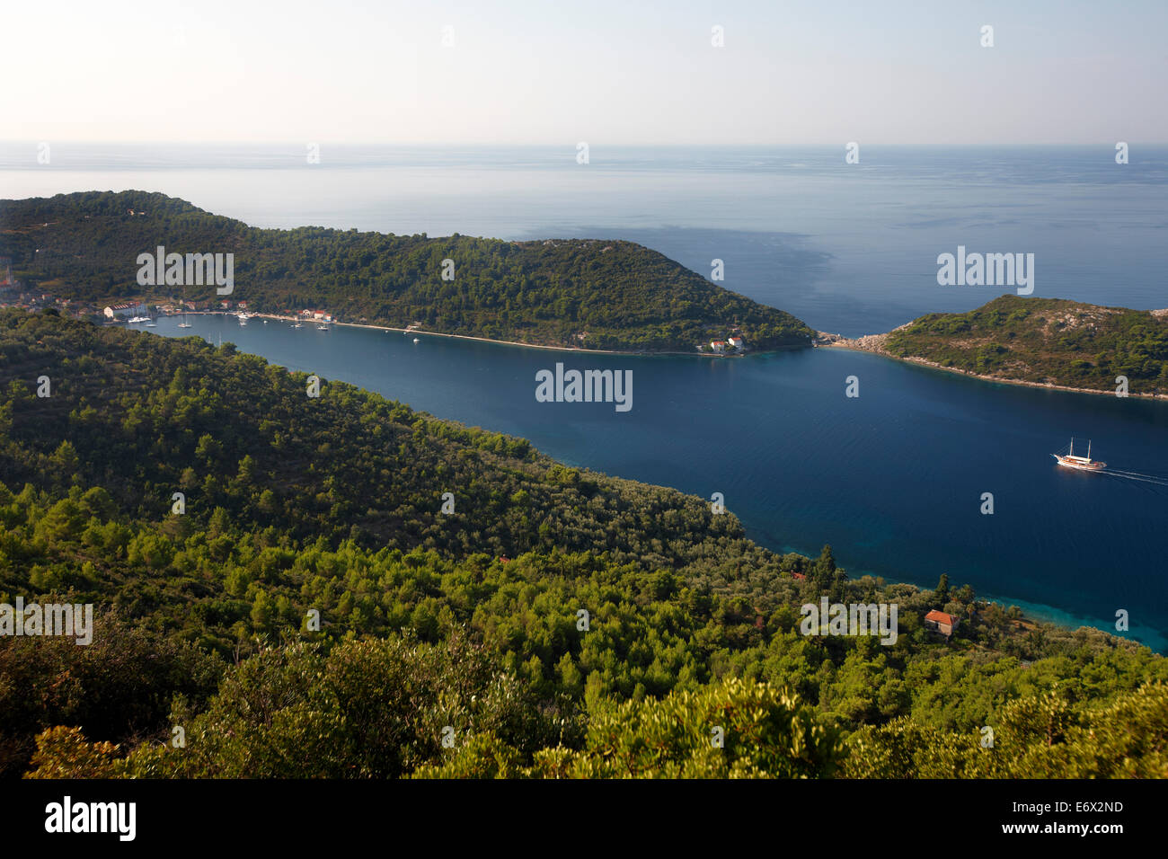 View over the Elaphiti Islands, Sipanska Luka, Sipan island, northwest of Dubrovnik, Croatia - Stock Image