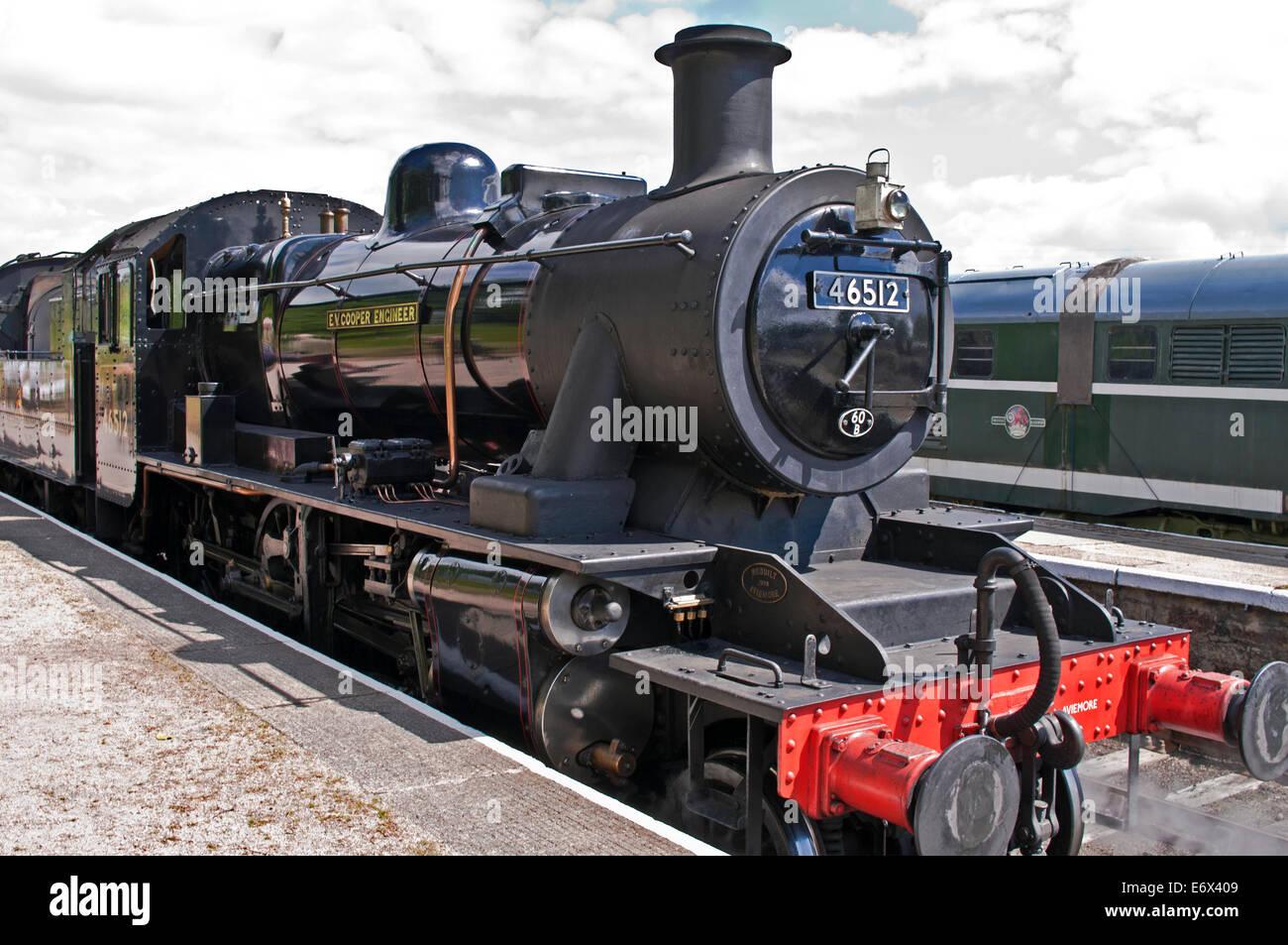 Restored steam locomotive E.V. Cooper Engineer at Boat of Garten station, Strathspey Steam Railway, Cairngorms National - Stock Image