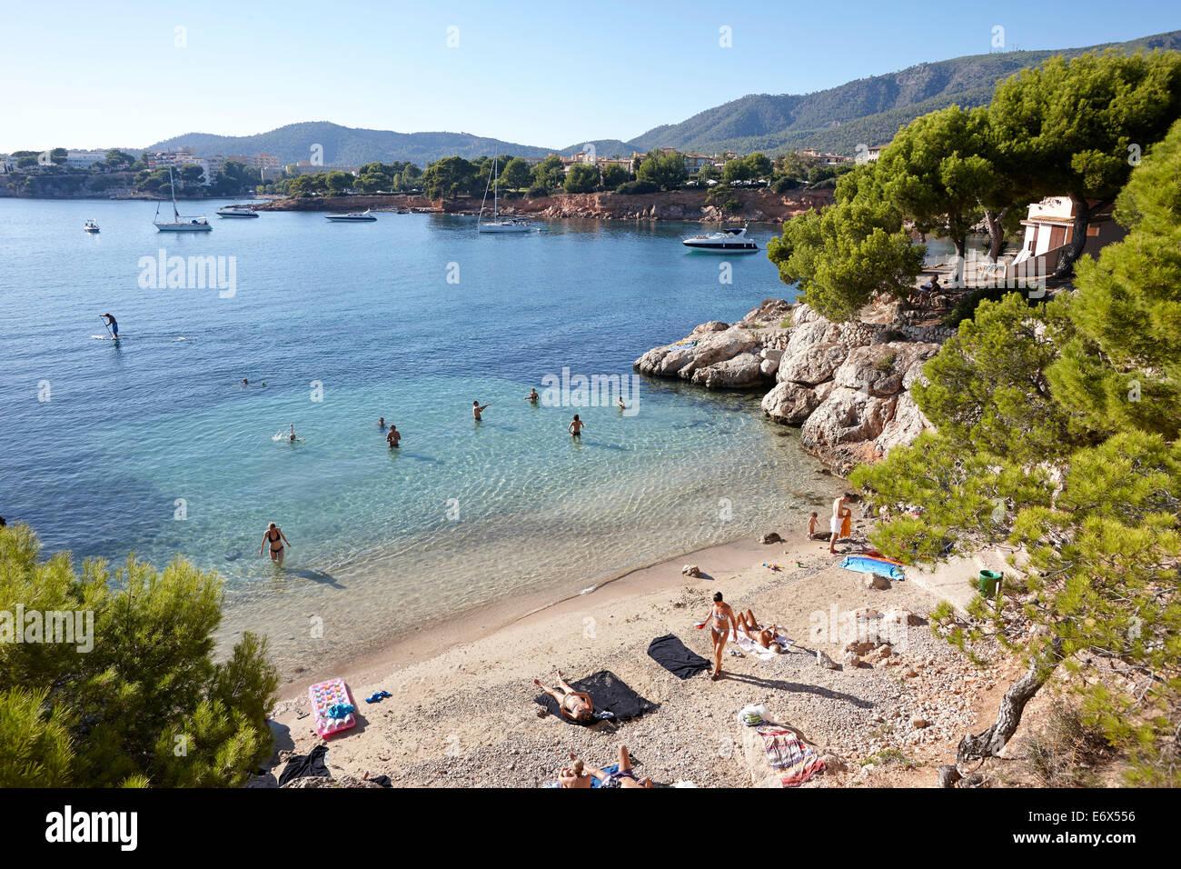 Beach west of Punta Negra H10 Hotel, near Portals Nous, west of Palma, Mallorca, Balearic Islands, Spain - Stock Image