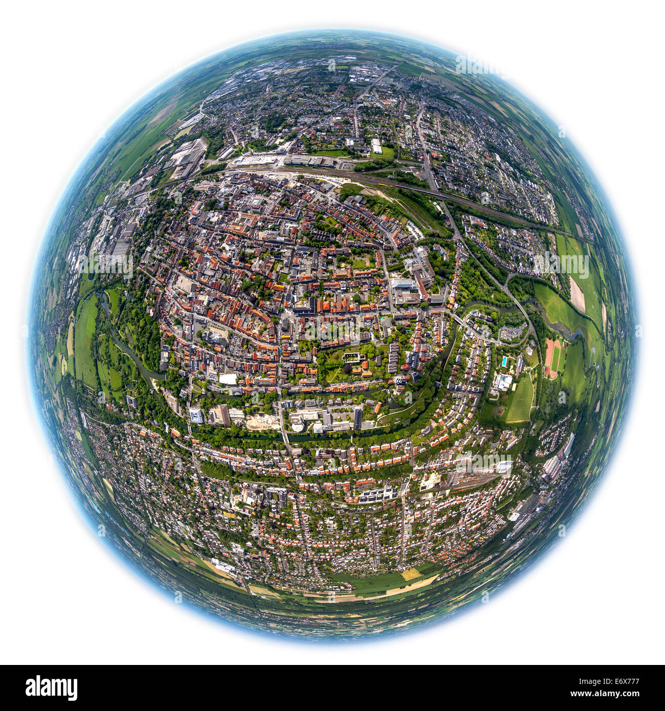 Aerial view, fisheye view, town centre of Lippstadt, North Rhine-Westphalia, Germany - Stock Image