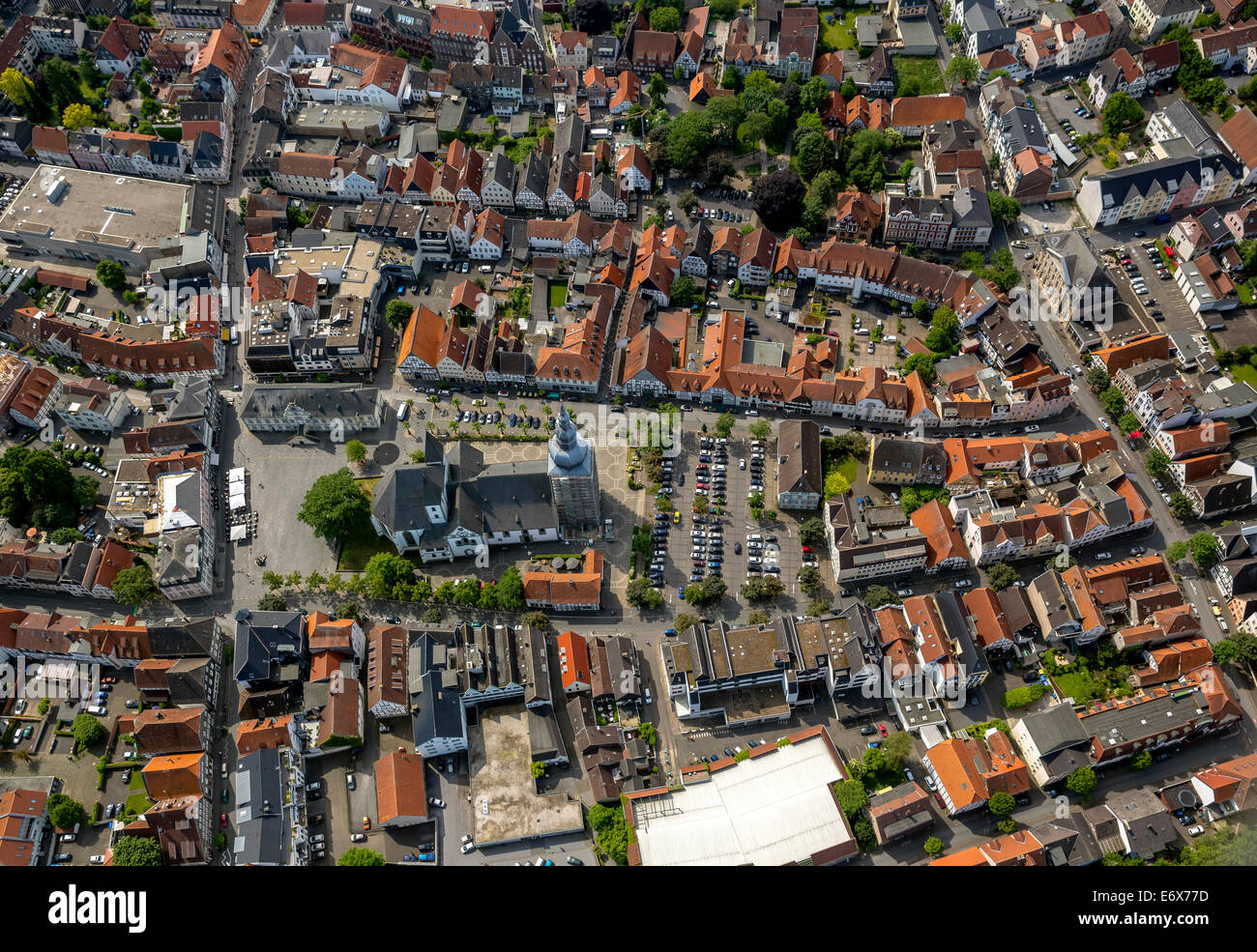 Aerial view, Große Marienkirche or St. Mary's Church, at the market square, Lippstadt, North Rhine-Westphalia, - Stock Image
