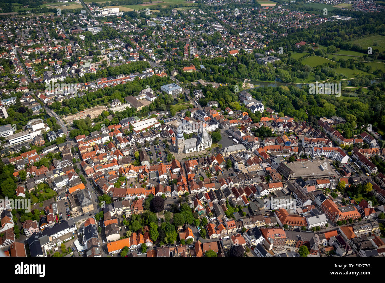 Aerial view, Große Marienkirche, St. Mary's Church, at the market square, Lippstadt, North Rhine-Westphalia, - Stock Image