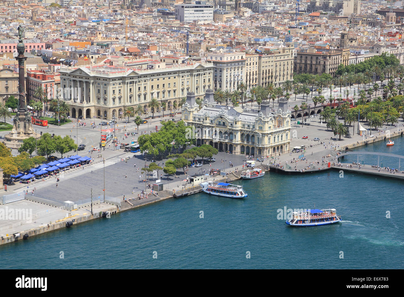 Aerial view of Port Vell (Old Port) of Barcelona. - Stock Image