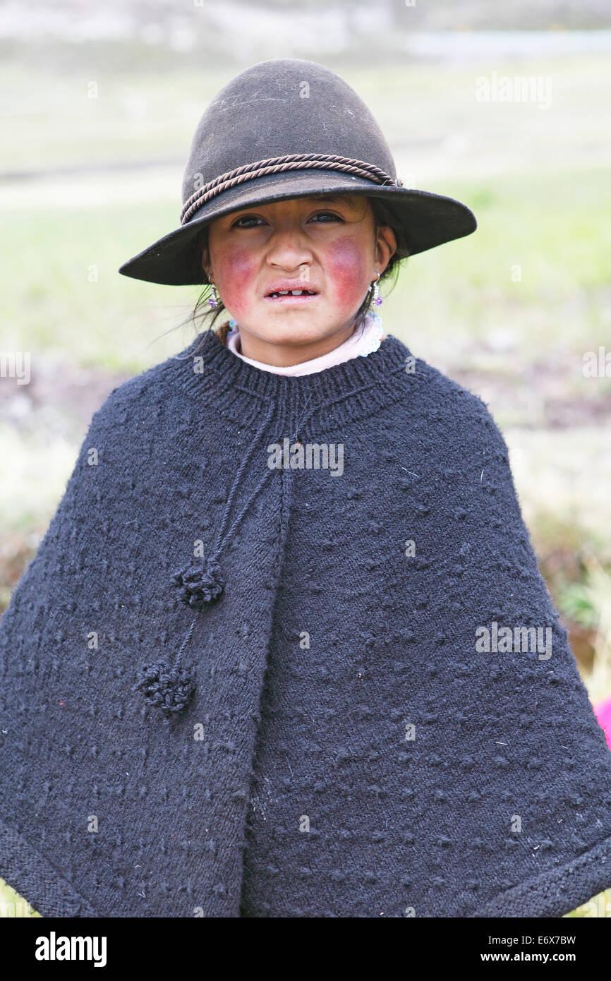 Girl in traditional costume, Puruhá people, Kichwa, Chimborazo Province, Ecuador Stock Photo