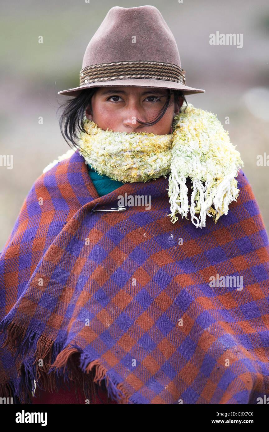 Girl with traditional felt hat, Puruhá people, Kichwa, Chimborazo Province, Ecuador Stock Photo