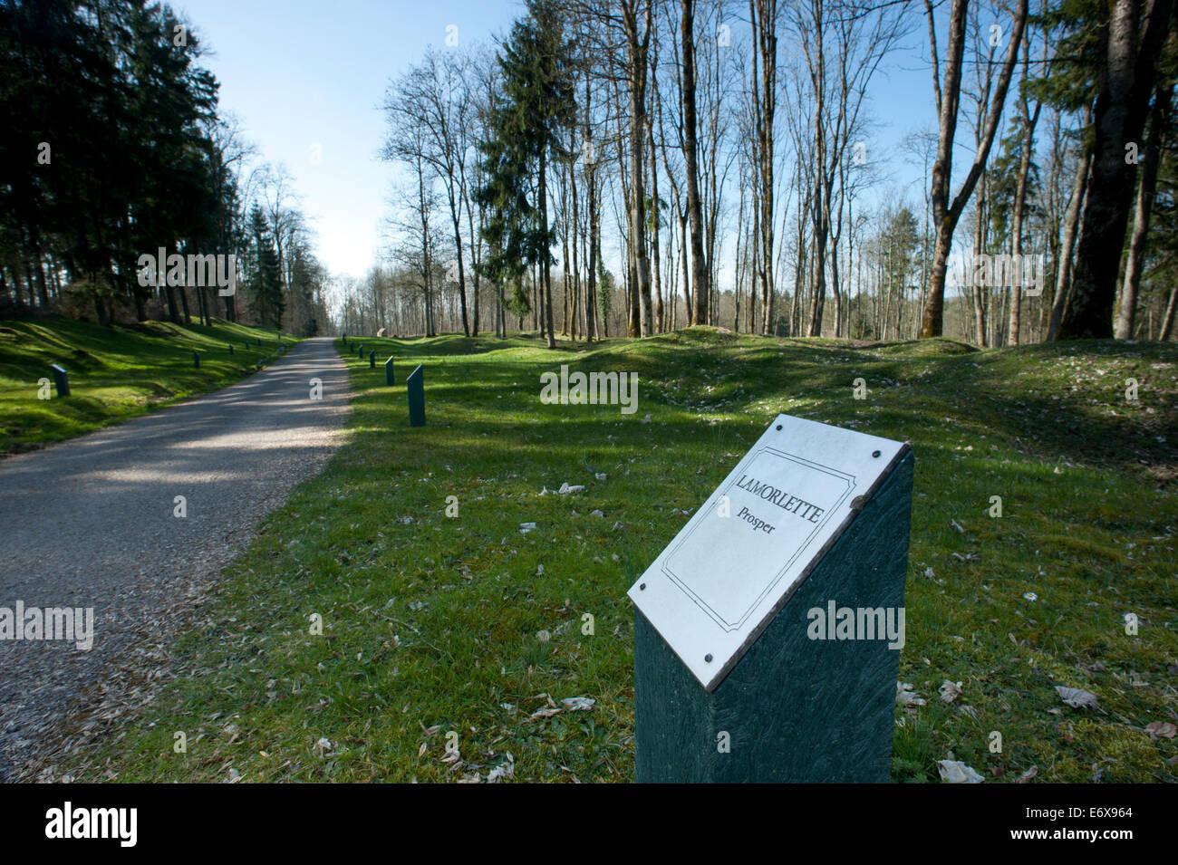 Verdun WW1 Battlefield site, Verdun-sur-Meuse, France. March 2014 Seenhere: During the war, the village of Douaumont Stock Photo