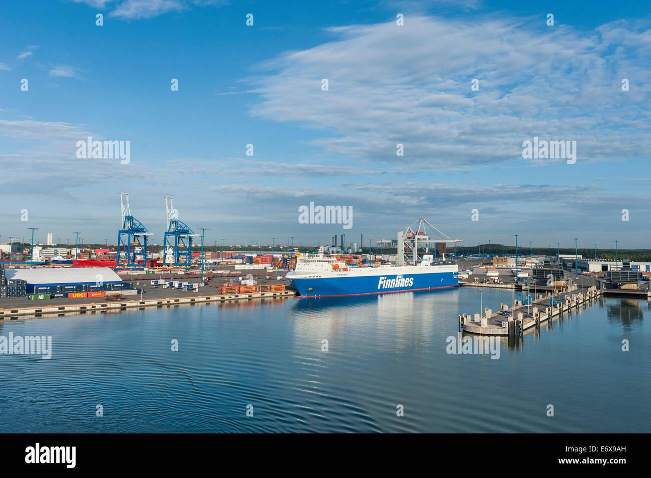 Cargo port of Helsinki, 'Finnwave' container ship of Finnlines Group, built in 2012, Helsinki, Finland - Stock Image