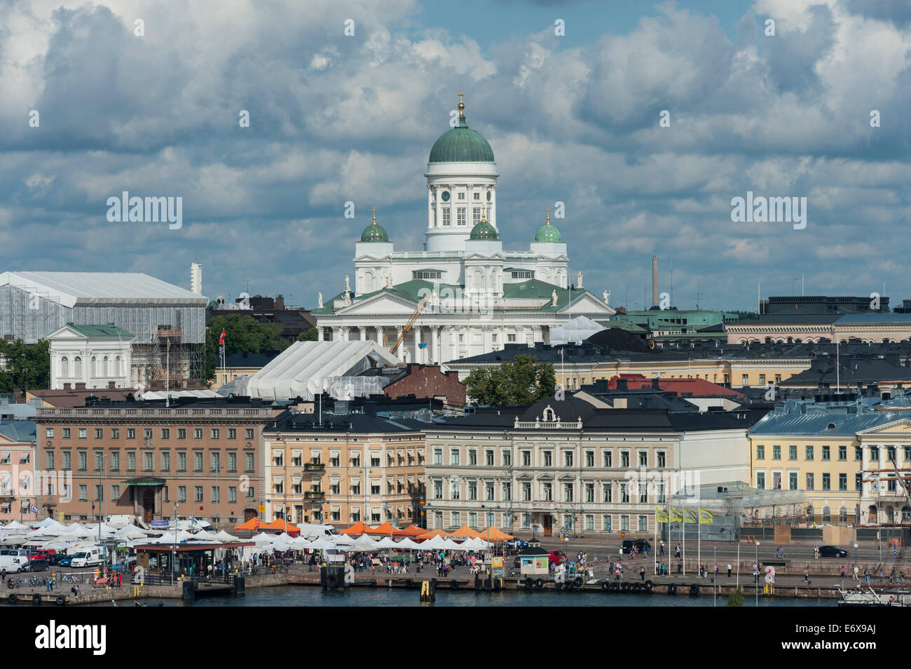 Helsinki Cathedral above the buildings at the harbour, Katajanokka district, Helsinki, Finland - Stock Image