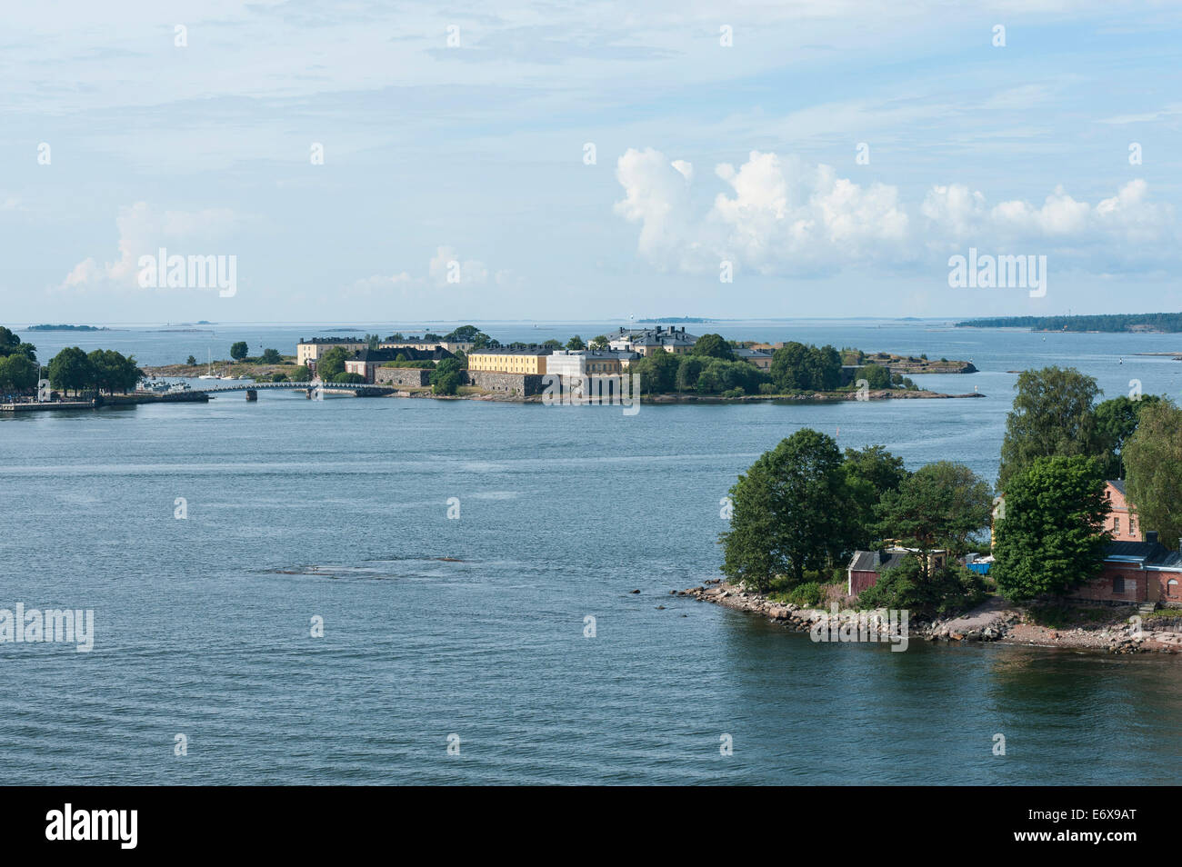 Islands off Helsinki, Suomenlinna Fortress at the back, UNESCO World Heritage Site, Helsinki, Finland - Stock Image