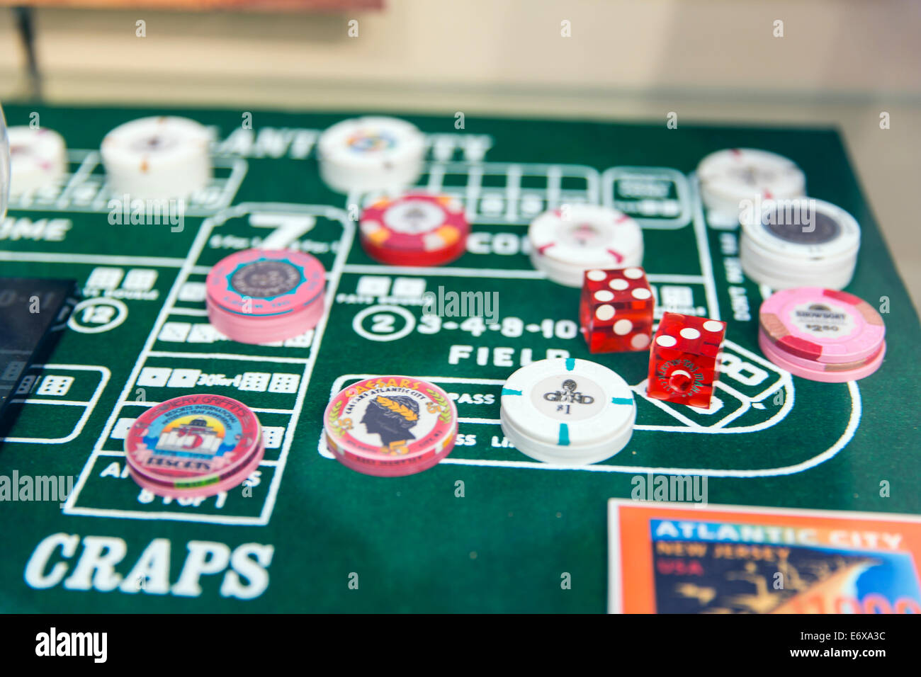 USA,New Jersey,Atlantic City, craps table - Stock Image