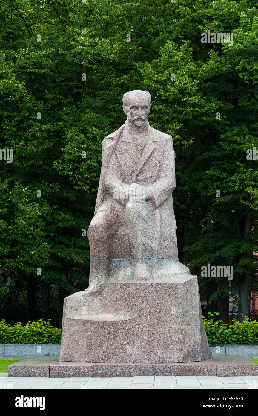 Monument to Janis Rainis, 1865-1929, Latvian National poet and writer, granite, Esplanade Park, Centrs neighbourhood, - Stock Image