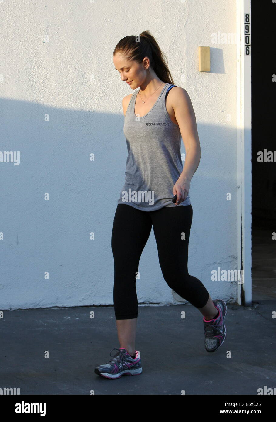 Minka Kelly seen leaving the gym in West Hollywood  Featuring: Minka Kelly Where: Los Angeles, California, United - Stock Image