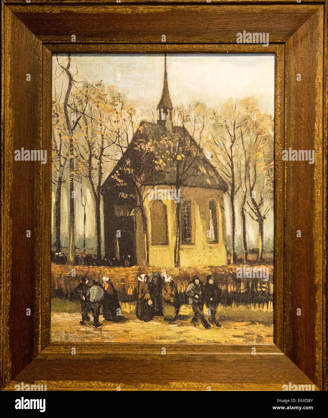 Netherlands, Nuenen, Village of Vincent van Gogh, Museum called Vincentre. Replica of painting of Dutch Reformed - Stock Image