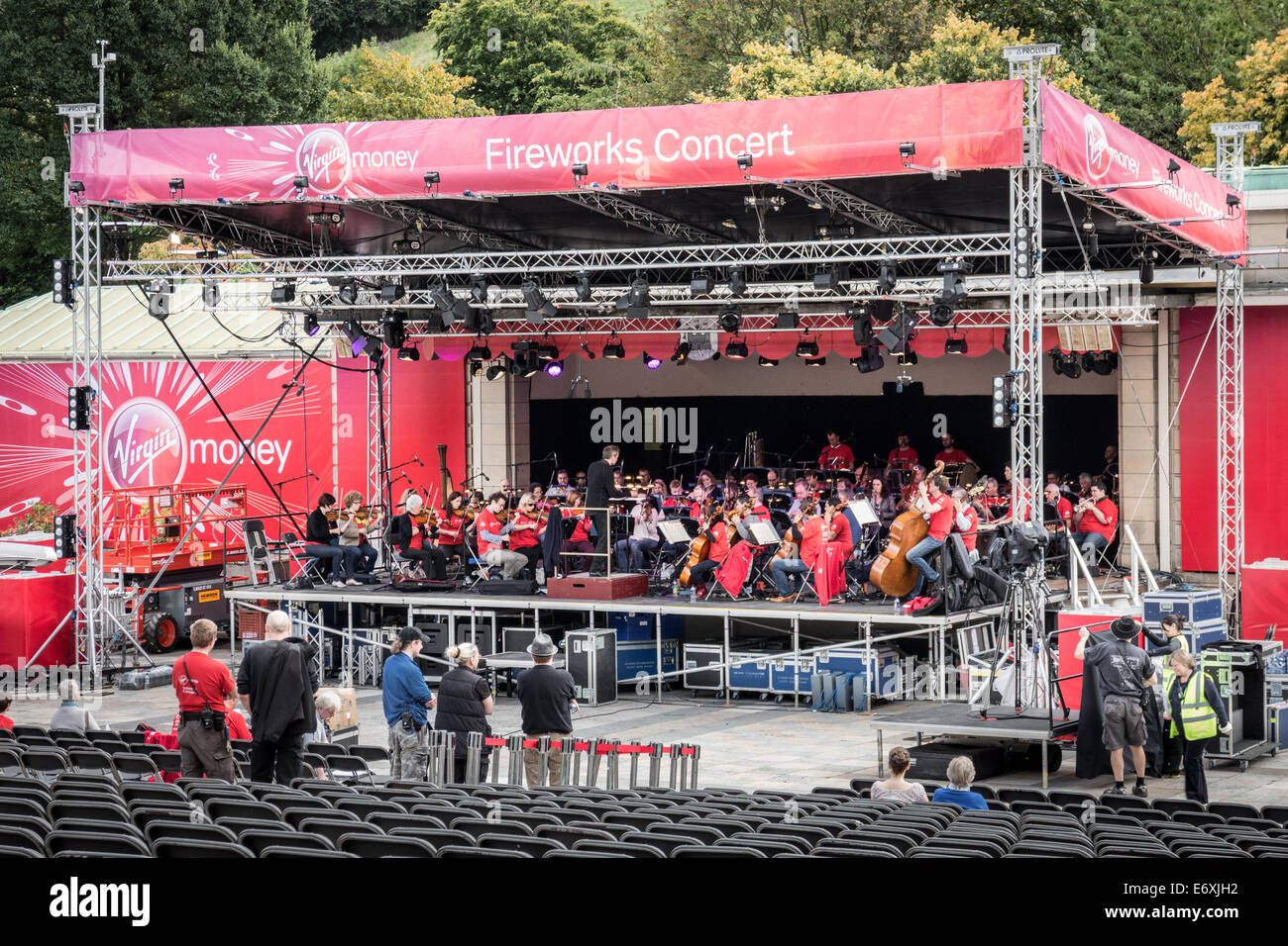 Scottish Chamber Orchestra rehearsing for the Edinburgh Arts Festival Fireworks Concert Stock Photo