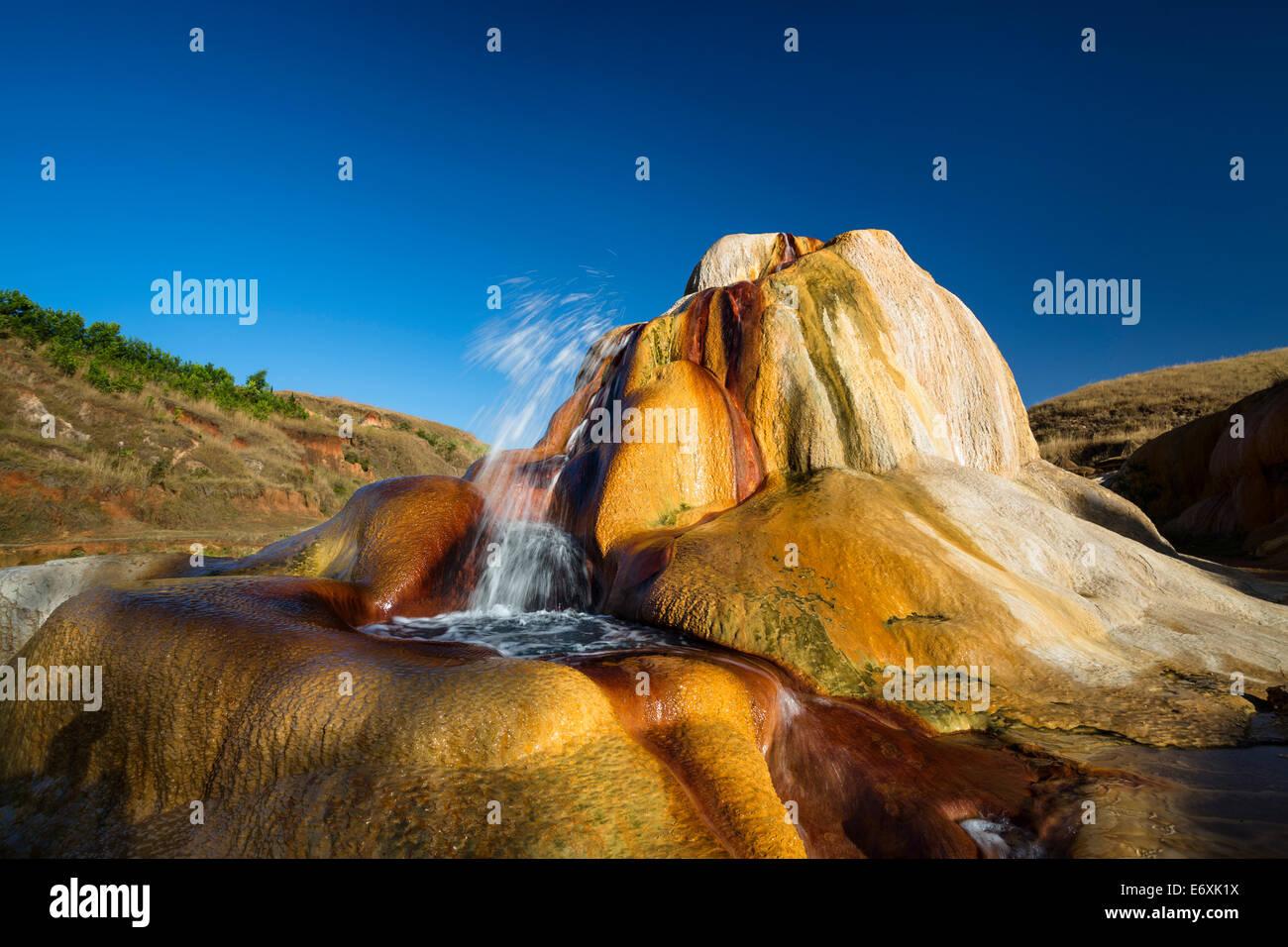 Geyser spouting, Geysers of Ampefy, highlands, Madagascar, Africa - Stock Image