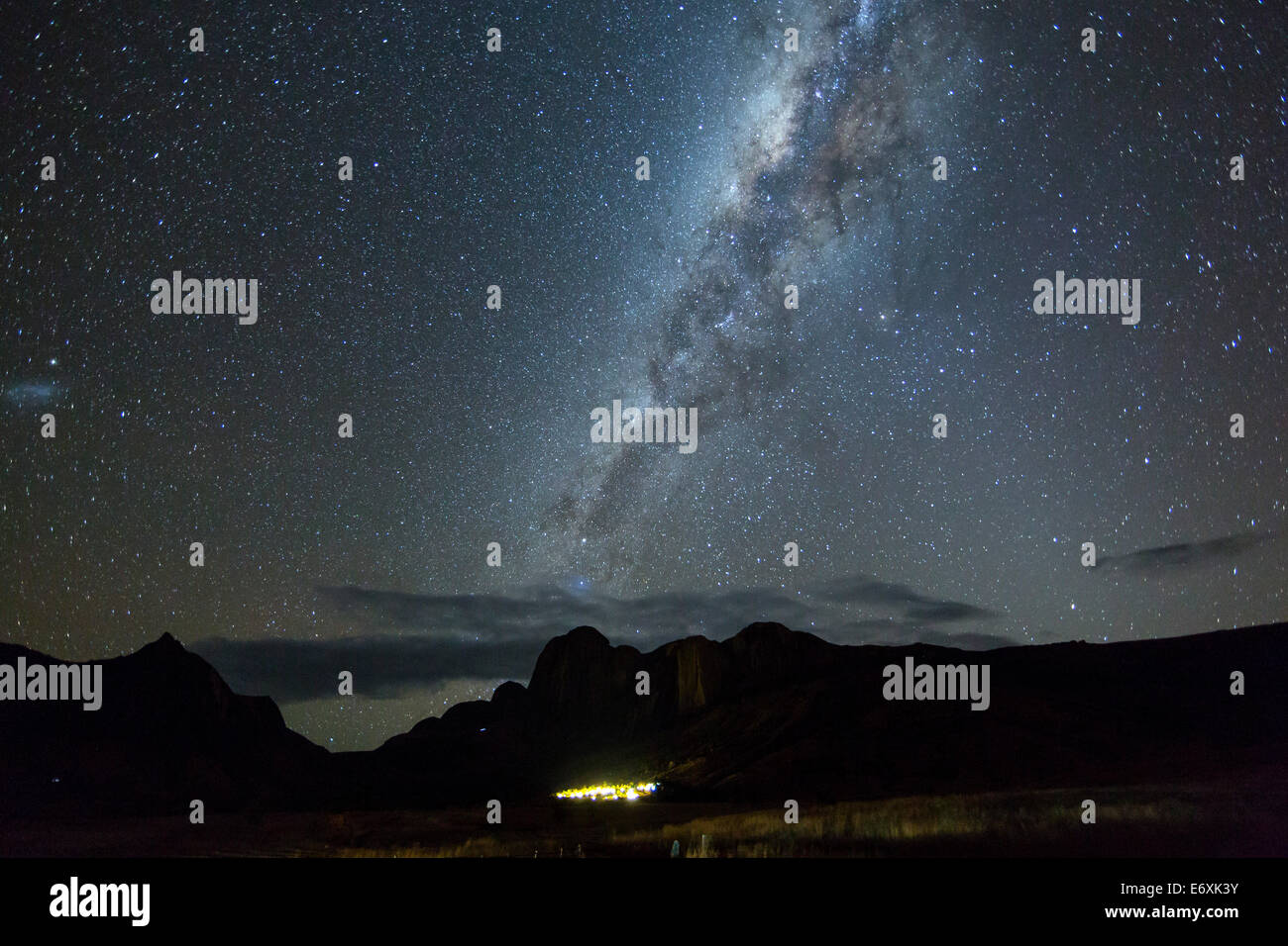 Southern starry Sky with milky way, over the Tsaranoro Mountain Range, South Madagascar, Africa - Stock Image