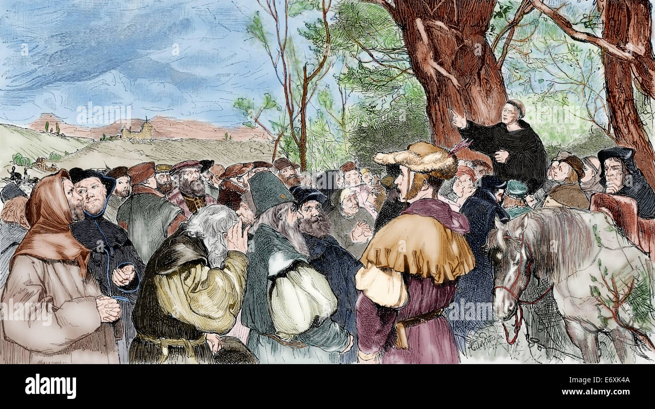 Martin Luther (1483-1546). German reformer. Luther preaching to the crowd in Mora. Engraving by A. Sigismund. Colored. - Stock Image