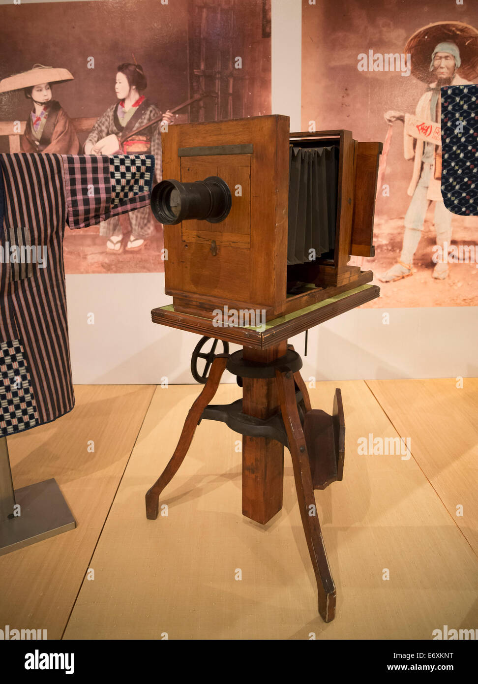This is an Ansco large format camera ca 1890 on display at the Museum of Natural History on the Univ. of  FL campus - Stock Image