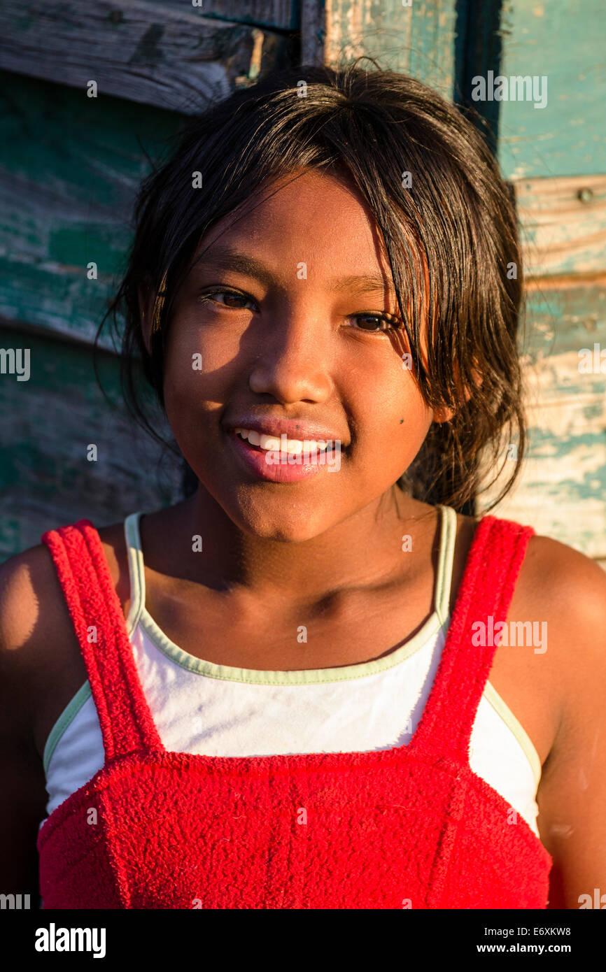 Madagascan girl from the Bara tribe, Ranohira, South Madagascar, Africa - Stock Image
