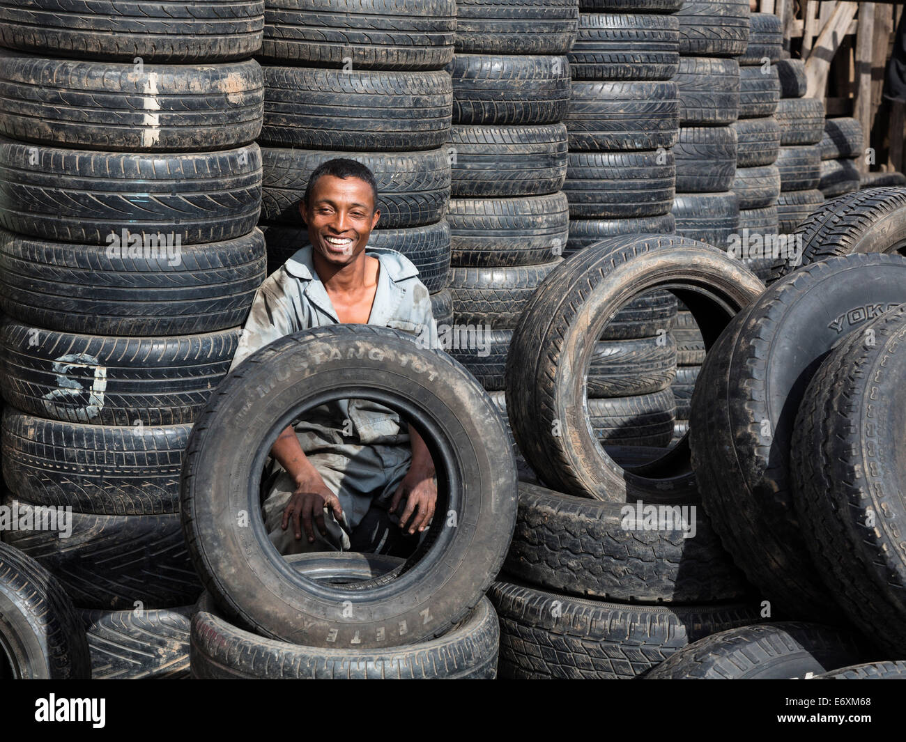 Tyre dealer, Antananarivo, capital of Madagascar, Africa - Stock Image