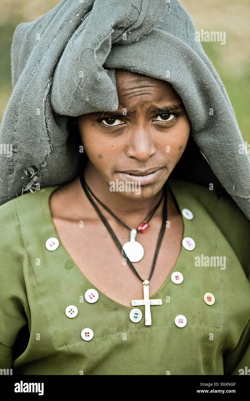 Young woman from the Ethiopian Highlands, Ethiopia, Africa - Stock Image