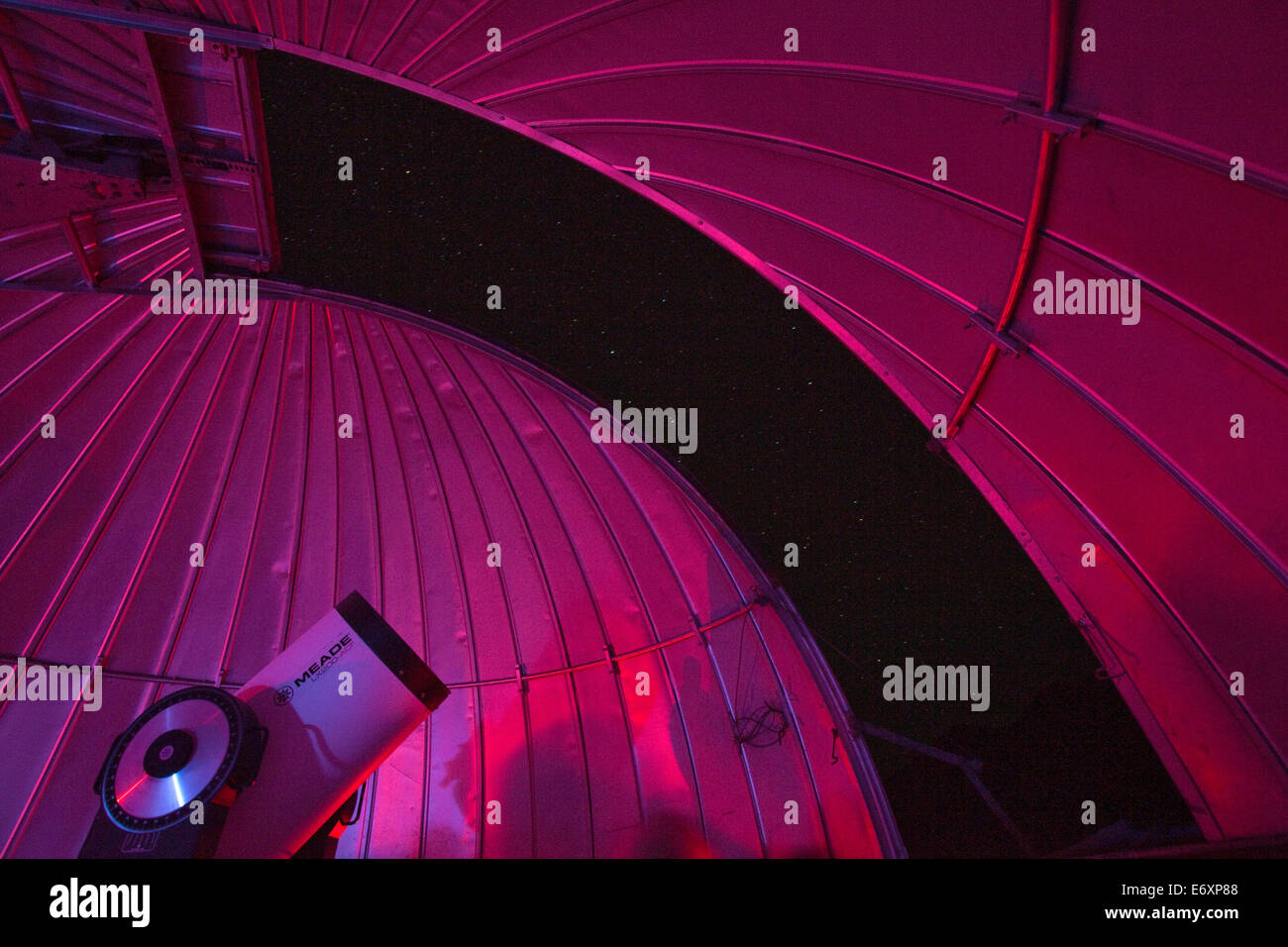 Telescope in the Mamalluca Observatory and stars in clear night sky, near Coquimbo, Coquimbo, Chile - Stock Image