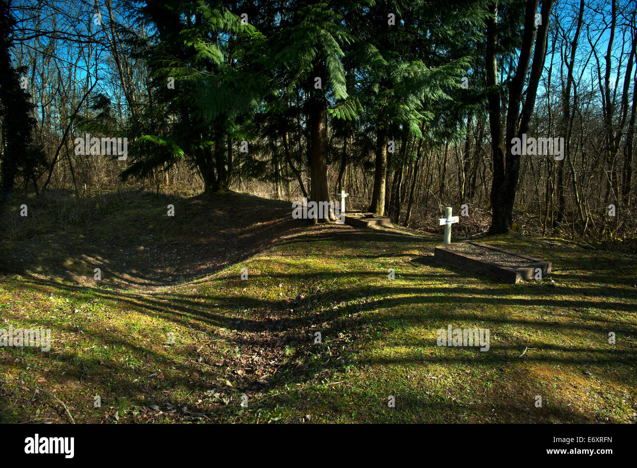 Verdun WW1 Battlefield site, Verdun-sur-Meuse, France. March 2014 The graves of two unknown French Soldiers buried - Stock Image