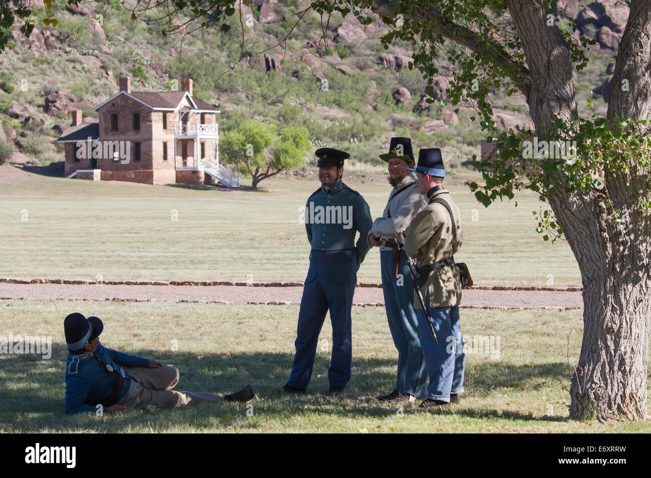 Old Fort Day annual event in Fort Davis Historical Site, Texas. The military post hosted the Buffalo Soldiers. Stock Photo