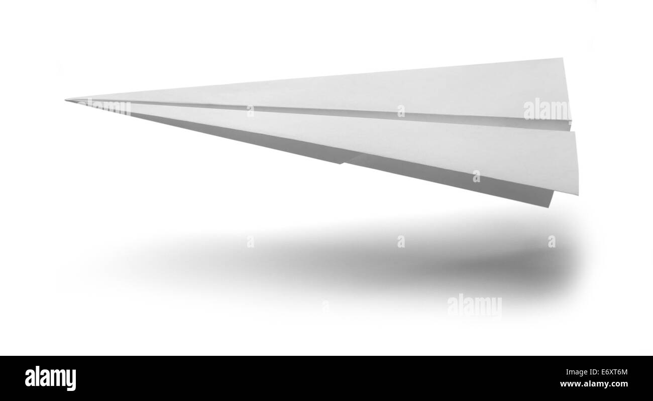 White Paper Airplane Landing Isolated on White Background. - Stock Image