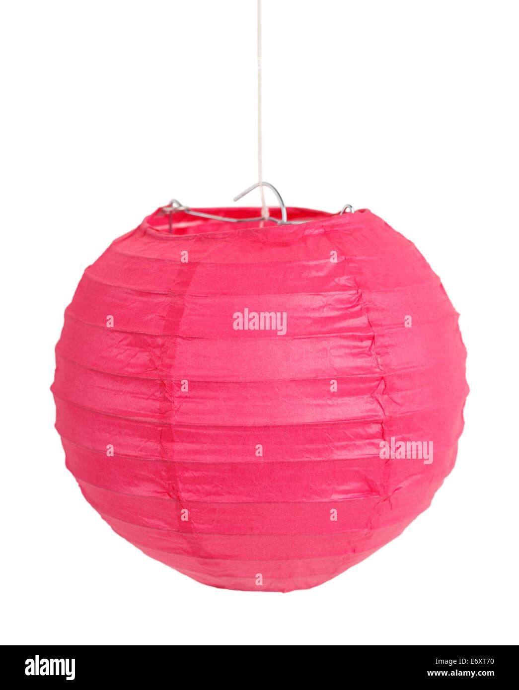 Pink Chinese Lantern Isolated on White Background. - Stock Image
