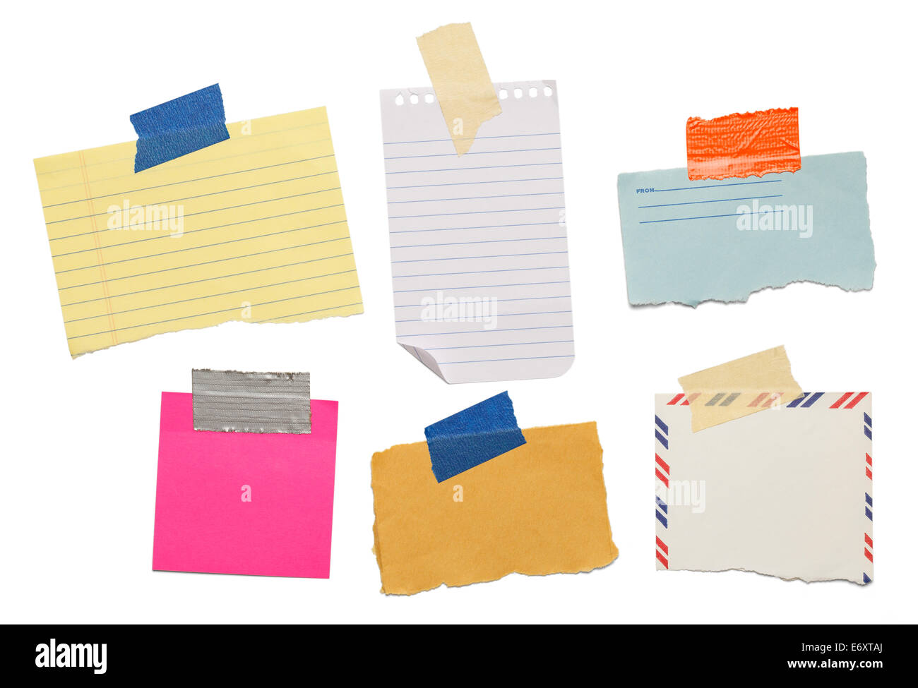 six different scraps of paper notes isolated on white background. - Stock Image