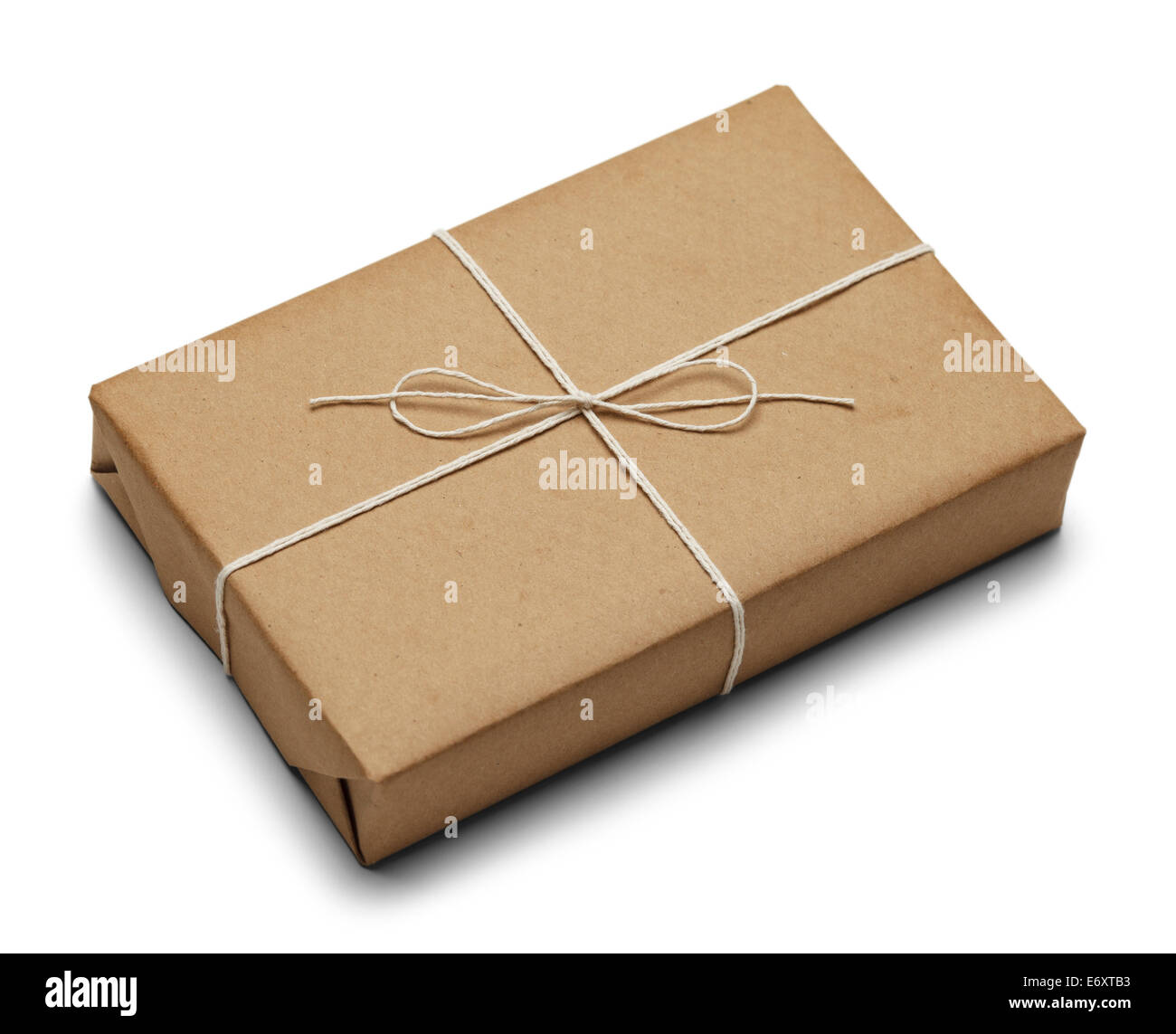 Tied Brown Paper Package With Rope Isolated on White Background. - Stock Image