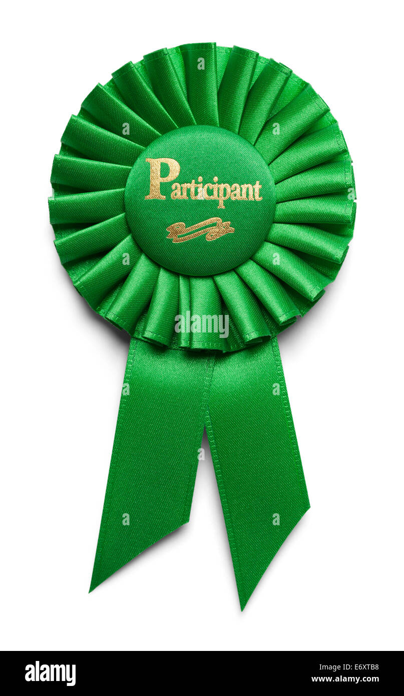 Green Participation Ribbon Isolated on White Background. - Stock Image