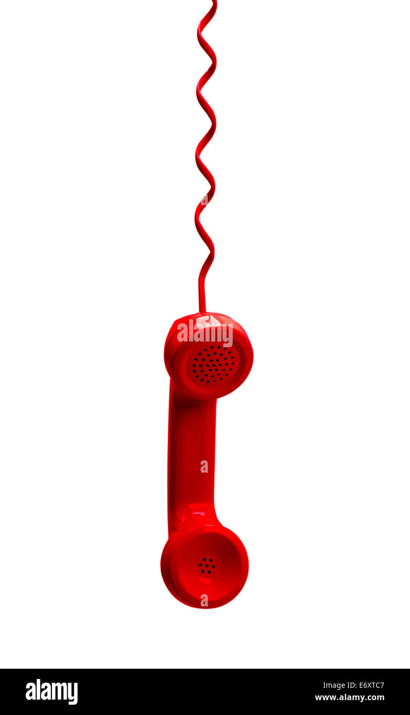 Red Phone Hanging Isolated on White Background. - Stock Image