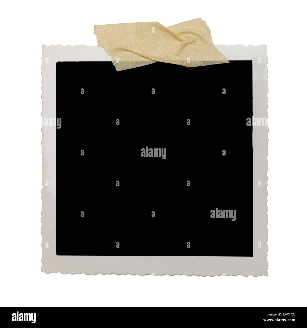 Old Photo with Copy Space and Tape Isolated on White Background. - Stock Image