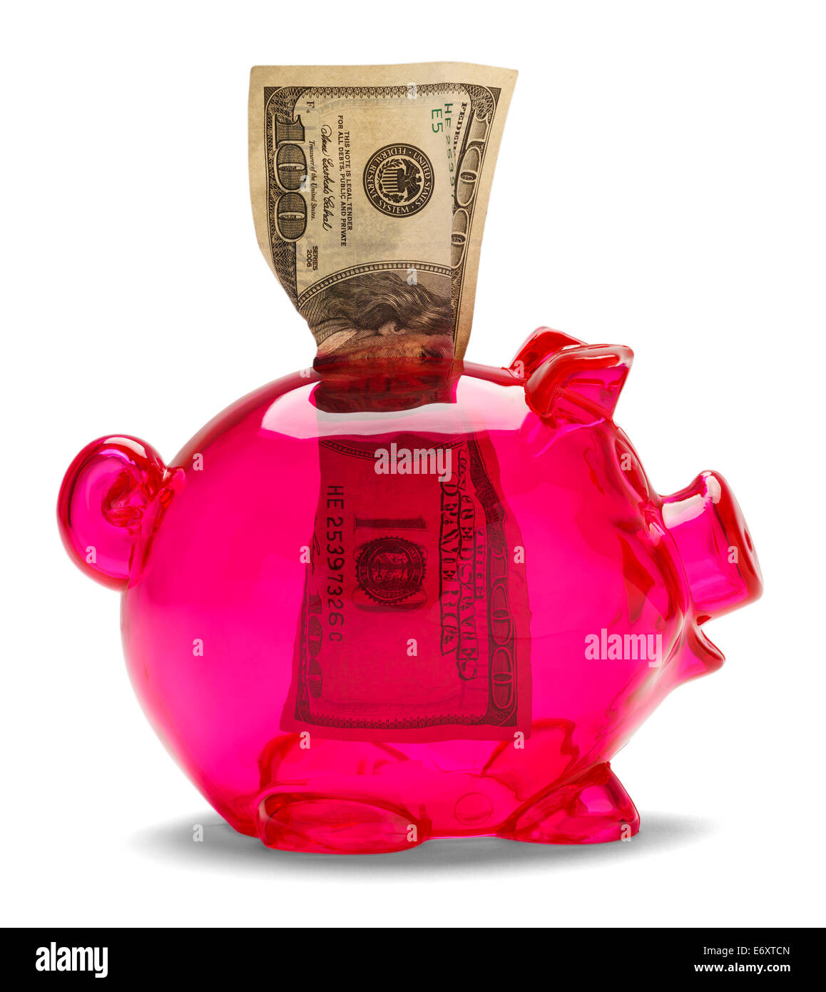 See through piggy bank with one hundred dollar bill isolated on a white background. - Stock Image