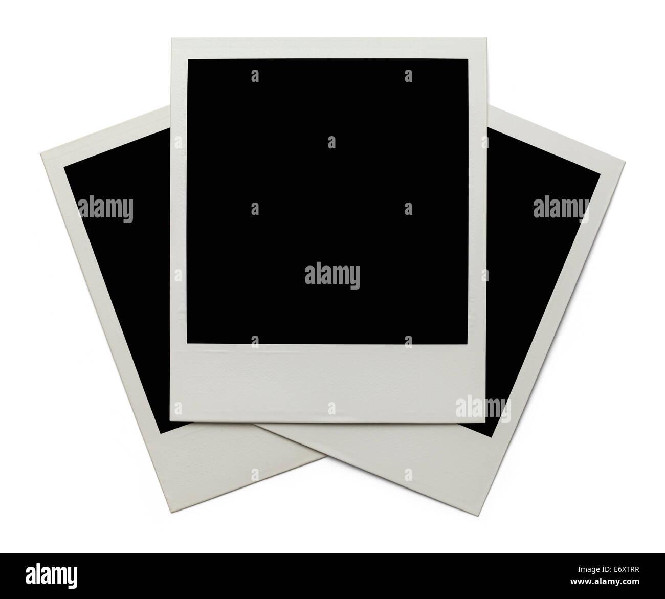 Three Photos Stacked Isolated on White Background. - Stock Image