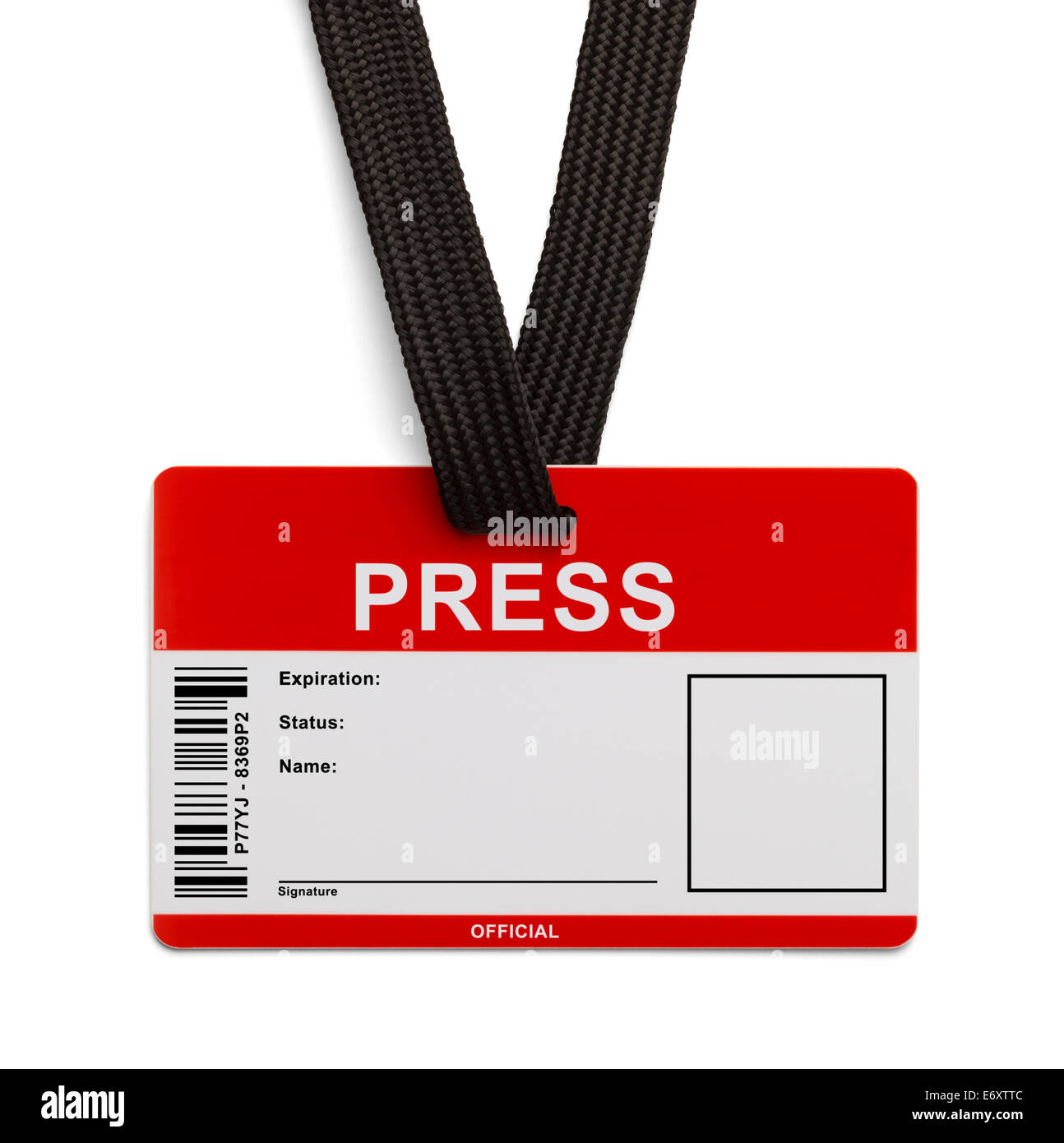 Red and White Press Pass ID Card Isolated on White Background. - Stock Image