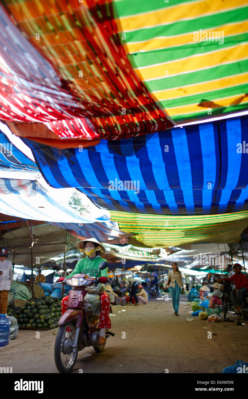 Market stalls under colourful canvas, Sa Dec, Dong Thap Province, Vietnam - Stock Image