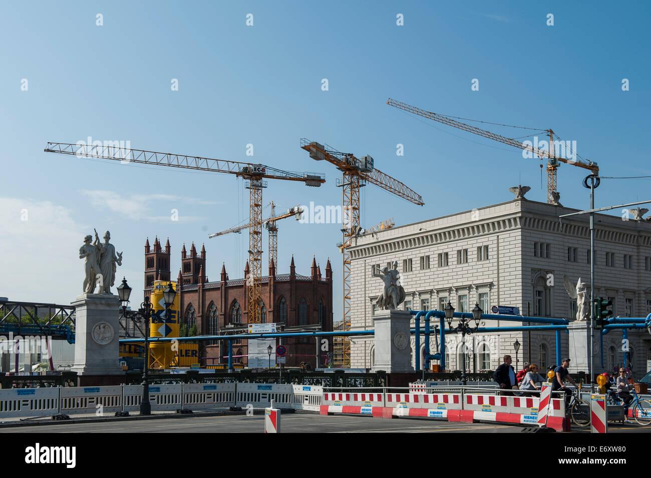 Germany,Deutschland,Berlin,Hauptstadt,Capital City, Friedrichswerdersche Kirche,building site Berlin,cranes, Stock Photo