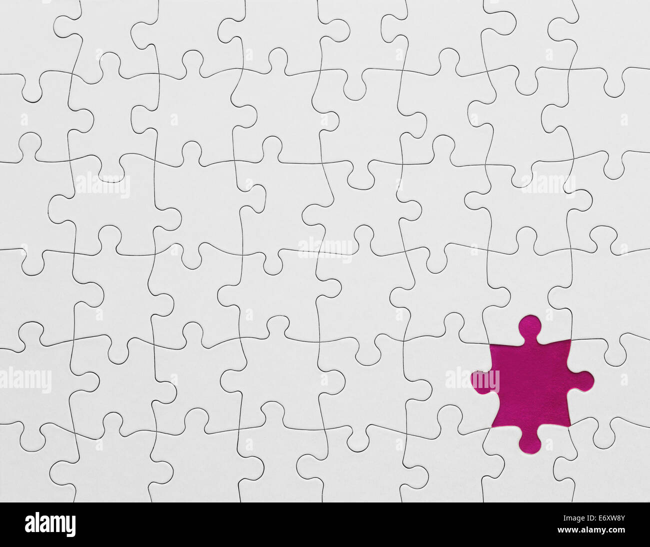 Blank Puzzle with Missing Piece in Pink. - Stock Image
