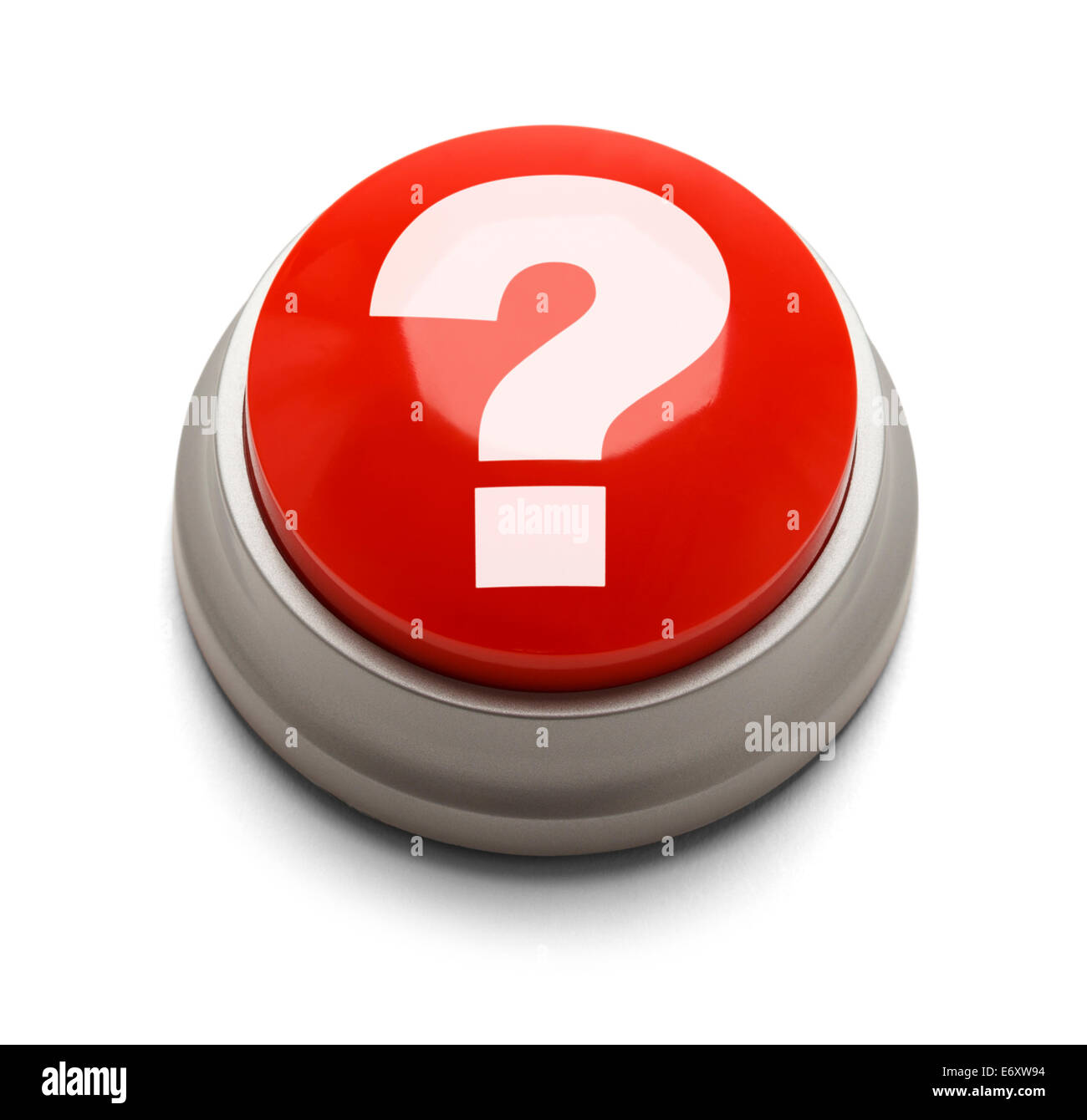 Red button with question mark isolated on a white background. - Stock Image