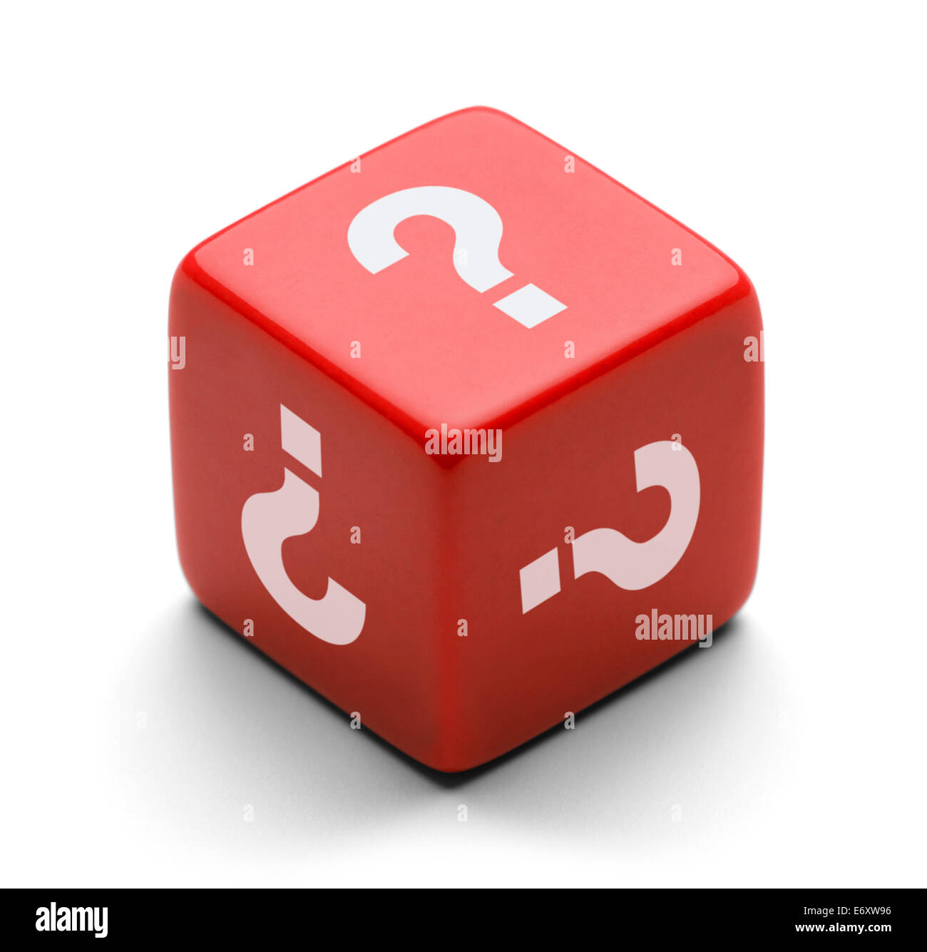 Red Dice With Question Marks Isolated on White Background. - Stock Image